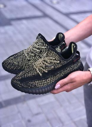 Женские кроссовки adidas yeezy boost 350 v2 static black reflective (полный рефлектив)
