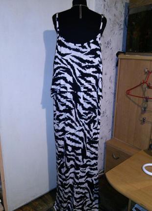 Трикотажное,длинное платье-сарафан с воланом и открытыми плечами,большого размера,турция2 фото
