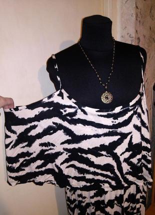 Трикотажное,длинное платье-сарафан с воланом и открытыми плечами,большого размера,турция4 фото