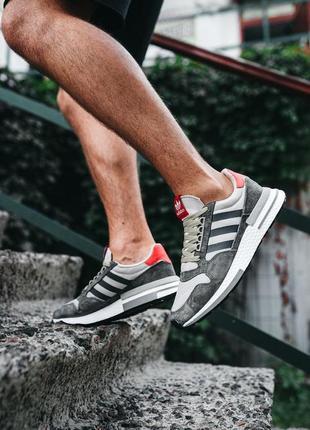 Мужские кроссовки adidas zx 500 rm grey four наложка