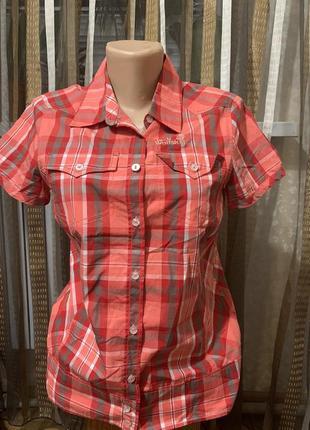 Фирменная женская треккинговая рубашка jack wolfskin