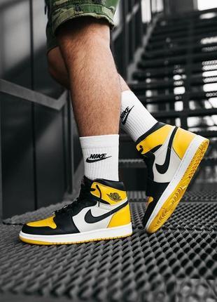 Nike air jordan 1 yellow мужские кроссовки наложка