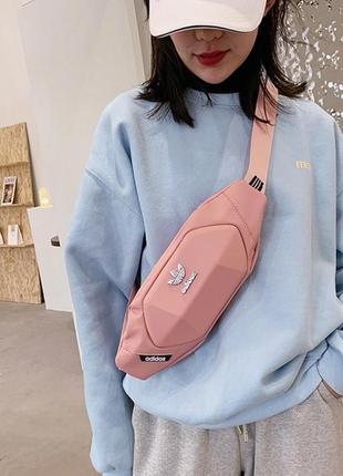 Поясная сумка-бананка розовая
