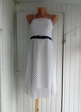 Шифоновое платье сарафан в горошек