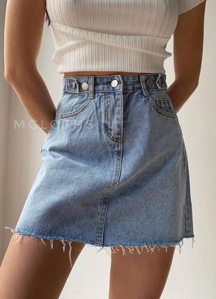 Женская юбка, джинсовая юбка, короткая юбка, голубая юбка