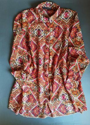 Легкая шифоновая блуза блузка туника atmosphere этнический принт этнопринт бохо туніка