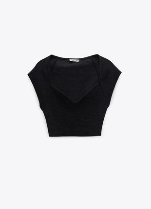 Топ футболка чёрный в рубчик с фигурным вырезом zara