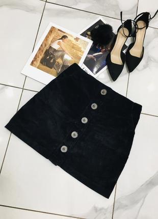 Стильная черная мини юбка из вельвета с пуговицами от boohoo  1+1=3 на всё 🎁