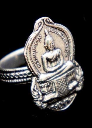 Кольцо будда белый металл непал