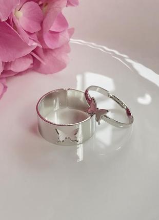 Уценка - парные кольца с бабочками, для подруг или пары