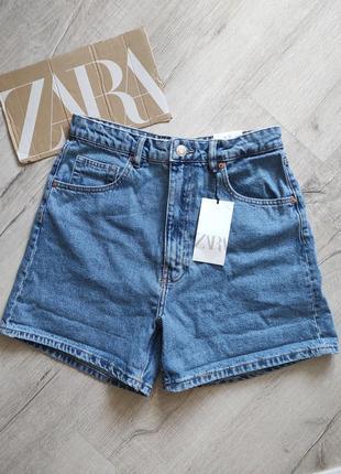 Zara шорты джинсовые бермуды мом mom fit размер 38 новые шорты с отворотом