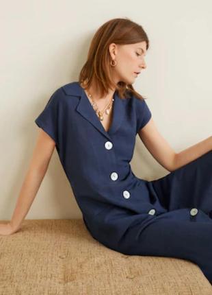 Mango платье халат миди сарафан лён новое  размер s 42-44