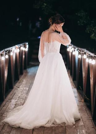 Свадебное платье lanesta corte италия кружево жемчуг рукав весільна сукня