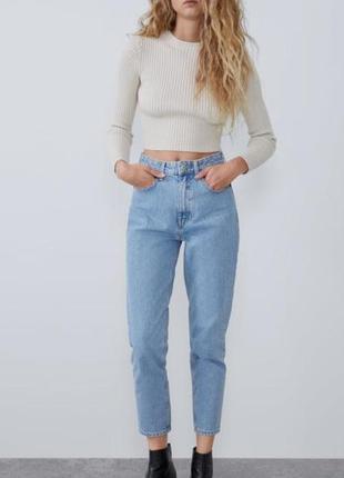 Zara mom fit светлые голубые джинсы момы высокая посадка новые оригинал zara! 38 размер