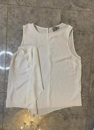 Распродажа все по 200 грн 🔥🔥🔥 белая шифоновая блуза с воланом без рукавов