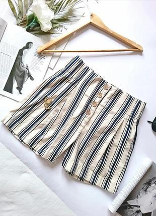 Актуальні пастельні лляні шорти/шортики з високою посадкою на ґудзичках, на р. s/m