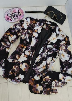 Стильный женский пиджак жакет в цветочный принт