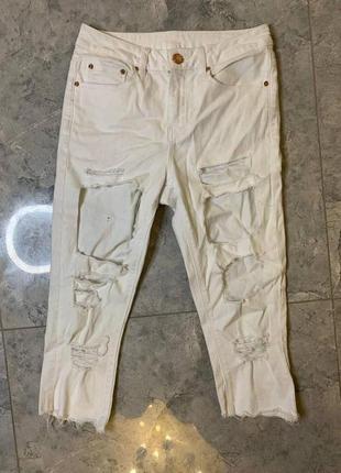 🆘🔥все по 100грн ликвидация 🆘🔥      белые рваные джинсовые бриджи