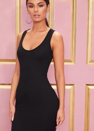 Распродажа 🎈 чёрное мини платье рубчик. базовое платье