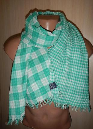 Легкий двухсторонний шарф tommy hilfiger 100% хлопок