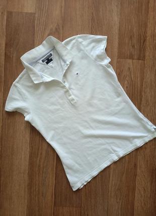 Tommy hilfiger базовая белая футболка поло /размер м-l