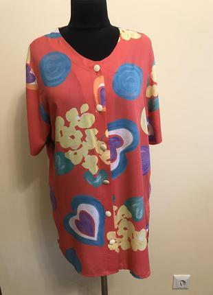 Блуза удлененная  натуральная винтажная