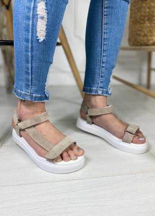 Натуральная замша кожа босоножки сандалии