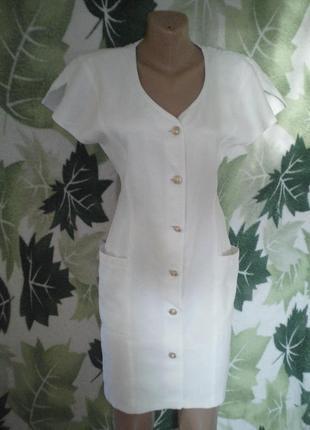 Платье-халат платье халат винтаж  приталенное белое белоснежное хлопок хлопковое прямой крой