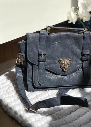 Квадратная сумка темно-синяя портфель