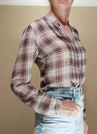 Рубашка блуза принт клетка кантри офис