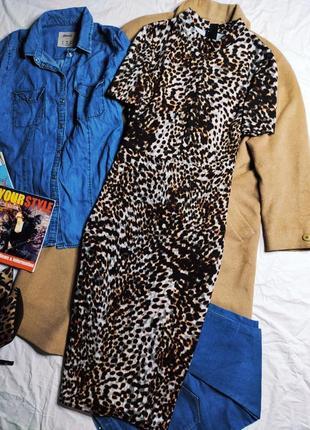 Marks spencer платье бежевое чёрное серое миди по фигуре карандаш футляр леопардовое