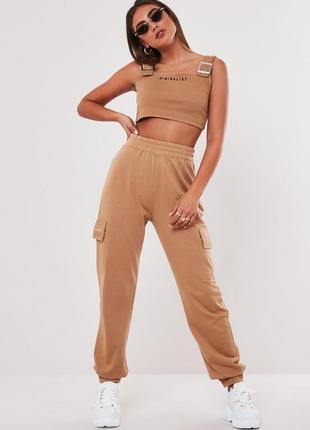Missguided штаны брюки спортивные джоггеры с карманами большие батальные бежевые коричневые