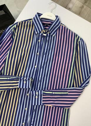 Разноцветная хлопковая рубашка gant оверсайз