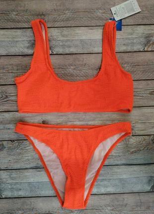Раздельный купальник жатка жатая ткань купальник высокие плавки модный купальник яркий купальник неоновый купальник