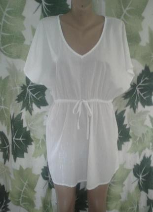 Платье-рубашка платье удлиненная  туника  f&f  белая белоснежная в  мелкую полоску хлопковое хлопок