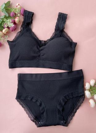Потрясающий черный комплект нижнего женского белья