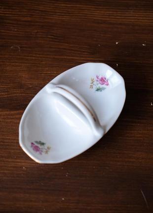 Винтажная фарфоровая соусница, солонка, двойная тарелка для горчицы с ручкой, советский винтаж ссср