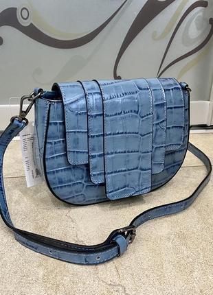 Сумка кожаная джинс сумка под крокодила кроссбоди италия сумка жіноча голуба