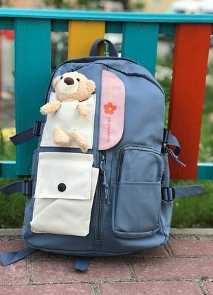 Лучший рюкзак для девочек / функциональный и милый с медвежонком синий