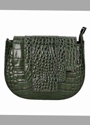 Сумка зелена шкіряна кожаная сумка зелёная сумка под крокодила кроссбоди натуральная кожа