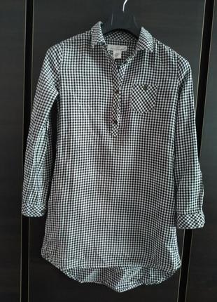Длинная рубашка в клетку с карманами, платье рубашка.