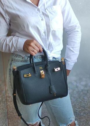 Женская сумка шоппер черная 25 см