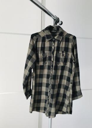 Рубашка-туника, рубашка, длинная рубашка в клетку хаки, чорная стильная, удобная.