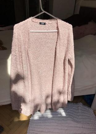 Тёплый свитер вязаной кардиган прямого кроя f&f rose