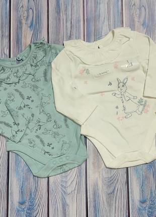 Комплект боді 2 шт для немовлят 0-3 міс бодики для новорожденных нарядные боди для малышей