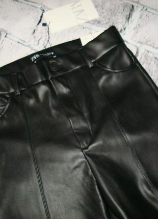 Кожаные женские леггинсы от zara испания6 фото