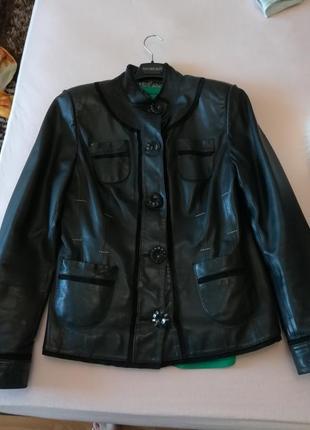 Кожаный пиджак, с елементами замша