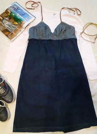 Джинсовый комбинированный оригинальный сарафан платье