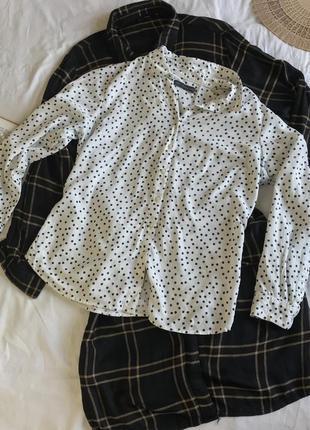Классическая белая рубашка-блузка в горошек из натуральной вискозы (размер 40-42)