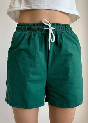 Шорти жіночі, зелені шорти, спортивні шорти, ізумрудні, женские шорты.